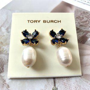 Tory Burch Blue Crystal Flower Stud Earrings